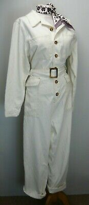 50s look rockabilly CREAM WHITE Denim Belted Jumpsuit Boilersuit 16 VGC