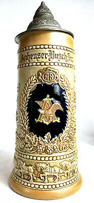 ANHEUSER BUSCH Ceramic Lidded Beer Stein Mug ST LOUIS Missouri Ceramarte Brazil