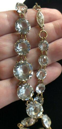 Art Deco Cut Faceted Rock Crystal Bezel Set Open Back Necklace 14K Gold Clasp