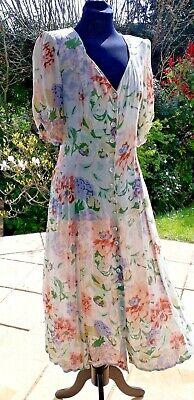 Vintage Phool Summer Tea Dress 1980s does 40s Floral Boho Indian Cream
