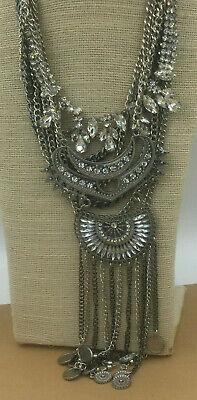 Fashion Necklace Rhinestone Crystal Silver Gunmetal Dripping Statement Runway