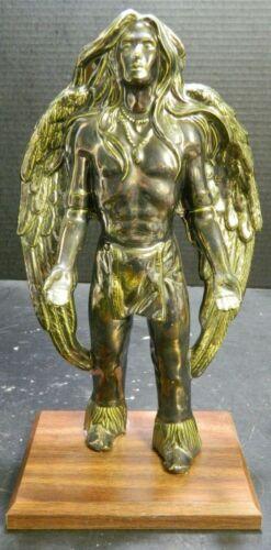 "Vintage Mounted Metallic Bronze Finish Native American Male Angel 11.5"" Excellen"
