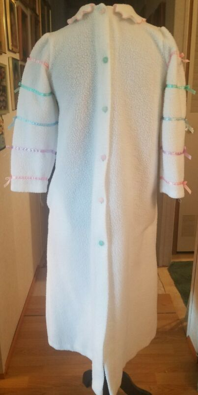 HER MAJESTY Sz 12 Tween Robe White Pastel Ribbons Bows Pink Trim Floral Buttons