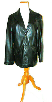 PASHA & JO WOMENS BLACK LEATHER JACKET BUTTER SOFT LEATHER DESIGNER JACKET SZ L