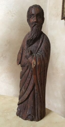 ORIGINAL - SPANISH 16th CENTURY STYLE CARVED WOOD STATUE OF A SAINT