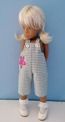 BJB Vintage Sasha doll clothes, Short blue and white gingham check dungarees