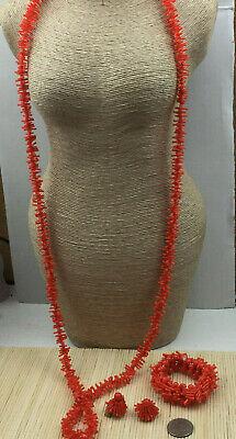 Vintage Necklace Set Plastic Branch Coral Orange Bracelet Clip on Earrings Gold Gold Plastic Necklace