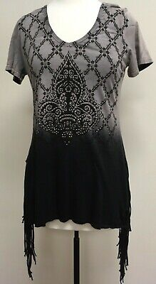 Vocal Apparel Tunic Top with Rhinestone Detail Black & Gray  Made In USA