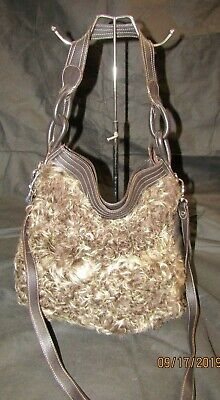 ARCADIA Brown Leather with Lamb's Fur Front Handbag w/Dust Bag - NWT