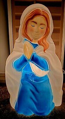 NICE !! LIKE NEW VTG Empire Nativity set blow mold halo Mary lights up yard (2)
