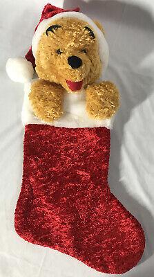 "Walt Disney World ~ Plush WINNIE THE POOH Large Christmas Stocking ~ 20"""