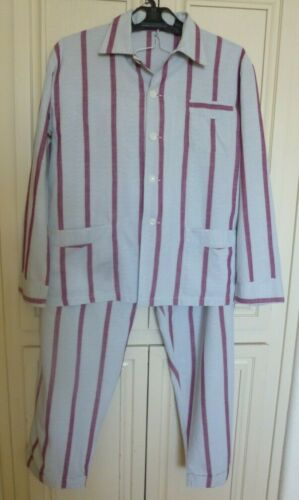 Zocnica 1950s MEN PAJAMAS~STRIPED COTTON~MATCHED POCKETS Size M / L Sleepwear