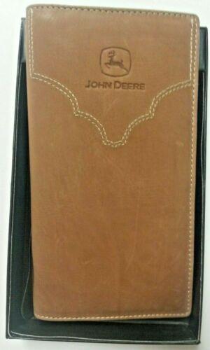 NEW John Deere Brown Apache Leather Checkbook Wallet  LP47220
