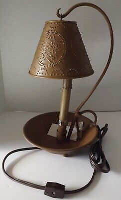 Candlestick Electric Table Lamp Metal Shade Candle Pan Base Primitive Mustard  Candlestick Base Table Lamp