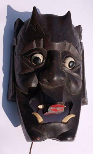 Asian Japanese hand carving Wood  Mask Horned Evil Demon Noh Hannya movable eyes
