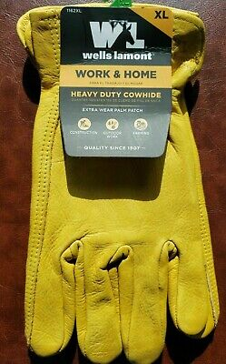Wells Lamont Work Home Gloves Gold Mens Xlarge Cowhide Leather Heavy Duty