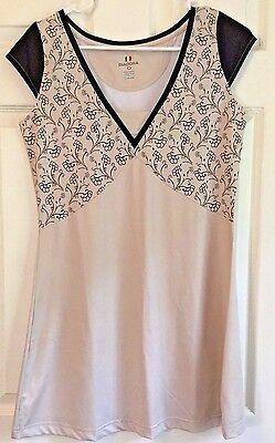 Tennis Dress DIADORA DIA-DRY Short Tan Brown Flowers Cap Sleeve Size M  Diadora Tennis Apparel