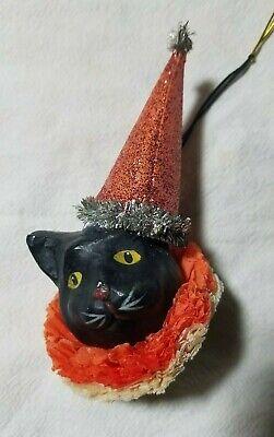 Bethany Lowe Designs Paper Mache Black Cat Head Halloween Ornament