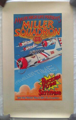 Rare Vintage Beer Poster Miller High Life Miller Squadron WWII SNJ-2 Skytyping !