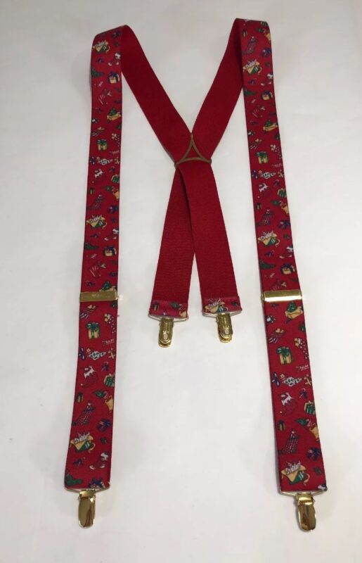 Germany Christmas Holiday Fabric  Suspenders Vintage Hipster