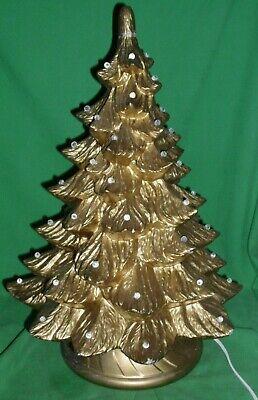 """Vintage, Large 22"""", Light Up, Ceramic Mold Christmas Tree , Gold Finish, & Base"""