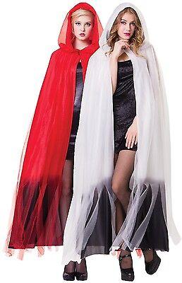 Damen Herren lang rot weiß ombre Halloween Horror Maskenkostüm Umhang (Herr Weiß Halloween Kostüm)