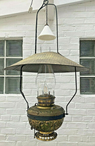Antique Country Store/Saloon Hanging Oil Lamp Electrified Late 1800