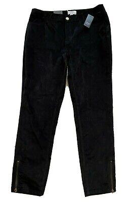 NWT Crown & Ivy Black Velvet Pants w/ Zipper Leg Womens 14