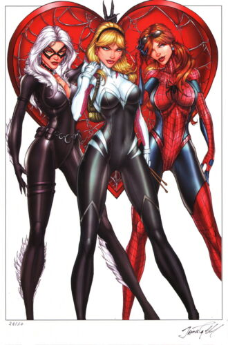 Jamie Tyndall SIGNED Spiderman Art Print Spider Gwen Stacy Mary Jane Black Cat