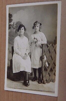 Postcard Real photo Mother & Teenage daughter Summer shift Dresses unposted