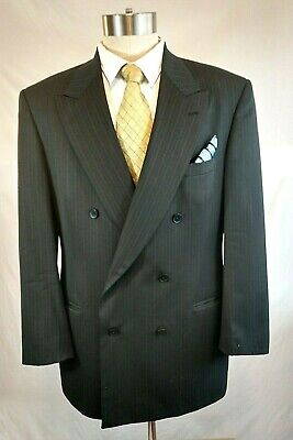 Nino Brown Suit (Nino Cerruti XL Brown on Black Pinstripe Double Breasted Two Pc Suit Size)