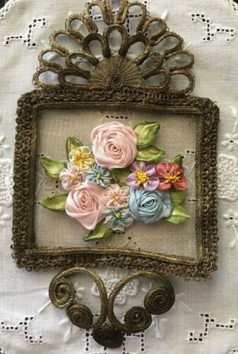 "EARLY ORNATE GOLD METAL FRAMED SPRAYOF FLOWERS-4""wide"" X 7-1/2""~AMAZING & UNUSED"