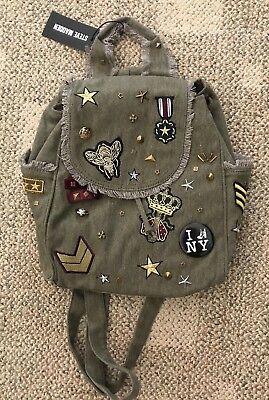 Womens Girls Steve Madden Olive Green BWilson Patch Backpack DT519095