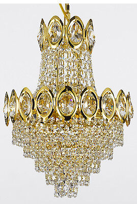 FRENCH EMPIRE CRYSTAL CHANDELIER LIGHTING FIXTURE PENDANT CEILING LAMP GOLD 4LTS