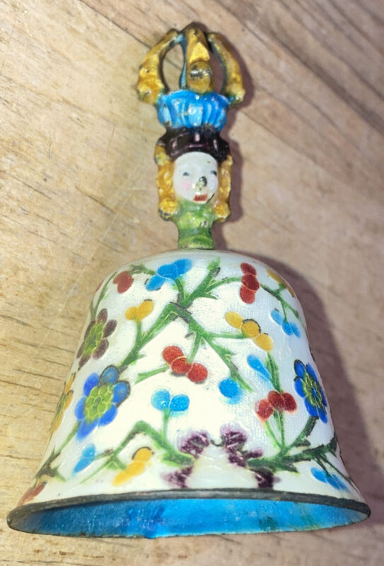 Early Chinese Champleve Enamel  Cloisonné Bell Figural Handle 3 3/8 Inch As Is