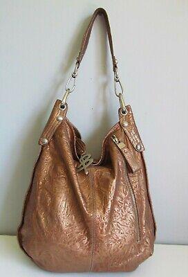 B. Makowsky Large Pebbled Leather Handbag Bronze Metallic  Shoulder Bag