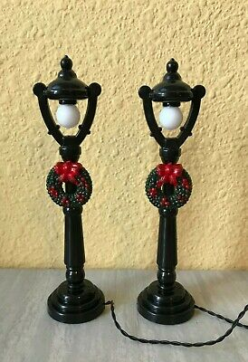 "Miniature Dollhouse FAIRY GARDEN CHRISTMAS Pair 4.75"" LED Street Light Lamp Post"