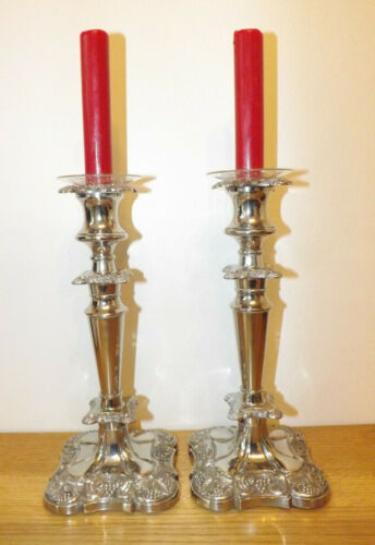 Vintage Pair Of Silver Plated Candlesticks With Vine Pattern In Relief