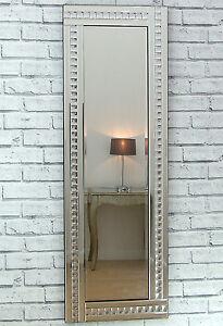 Alma Silver Crystal Glass Frame Long Dress Wall Mirror 48