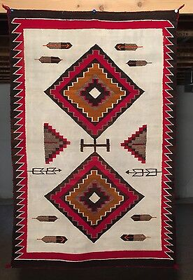 1930 NAVAJO RED MESA PICTORIAL RUG BLANKET 36x56 Weaving Textile Native American