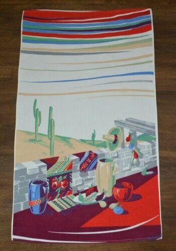 Vintage Wilendur Southwest Mexican Kitchen Tea Dish Towel 16x28 Sombrero Cactus
