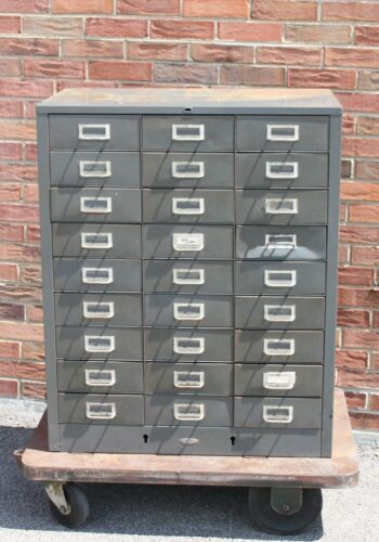 Industrial Cole Steel 27 Drawer Metal Parts Cabinet Storage Chest