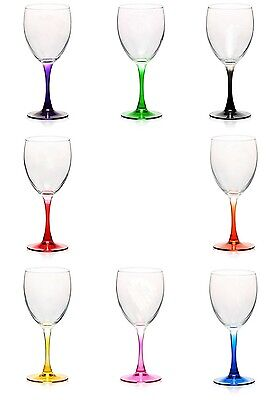 Wine Glass Stemmed or Stemless Purple Green Black Red Orange Yellow Pink Blue