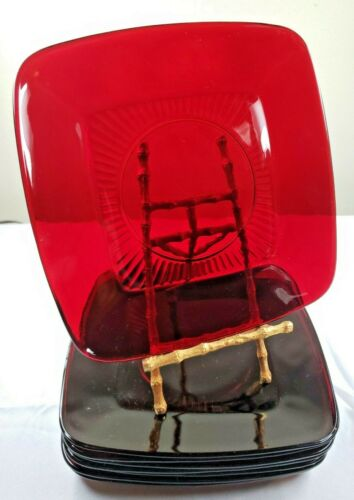 """8~Vintage Anchor Hocking Royal Ruby Glass CHARM Square Luncheon Plates 8-3/8"""""""