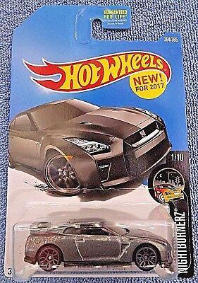 2017 Hot Wheels #364 Nightburnerz 1/10 '17 NISSAN GT-R R35 Gray w/Gray J5 Spoke