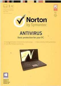Norton AntiVirus 2013 Retail Free 2014 Upgrade 1 PC 1 Year Symantec