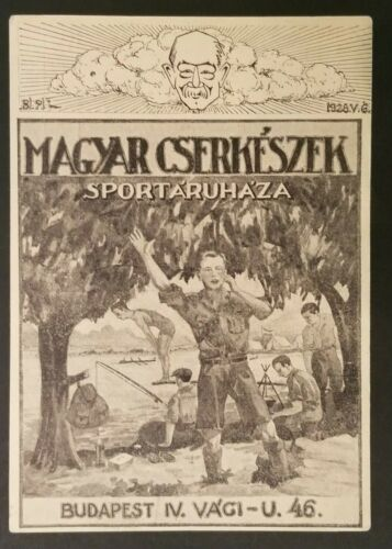 1928 Mint Vintage Budapest Hungary Boy Scouts Campsite Illustrated Postcard