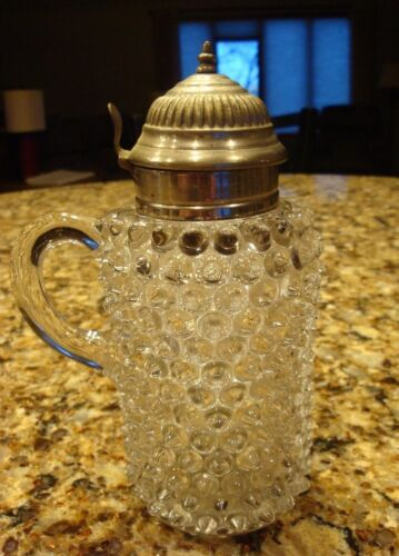 Late 1900s Antique Clear Glass Hobnail Pattern Syrup Dispenser/Decanter