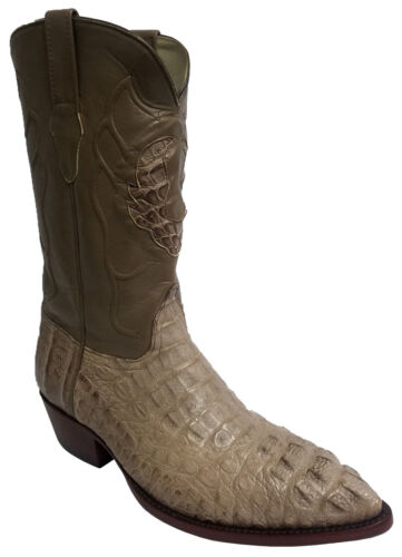 Mens, Light, Brown, Crocodile, Head, Cut, Exotic, Skin, Cowboy, Boots, J, Toe, Size, 12