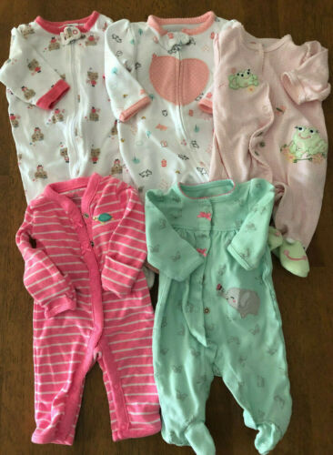 Lot of 5 Girls Size Newborn/0-3 Mths Gerber/Carters Cotton Footed Sleepers